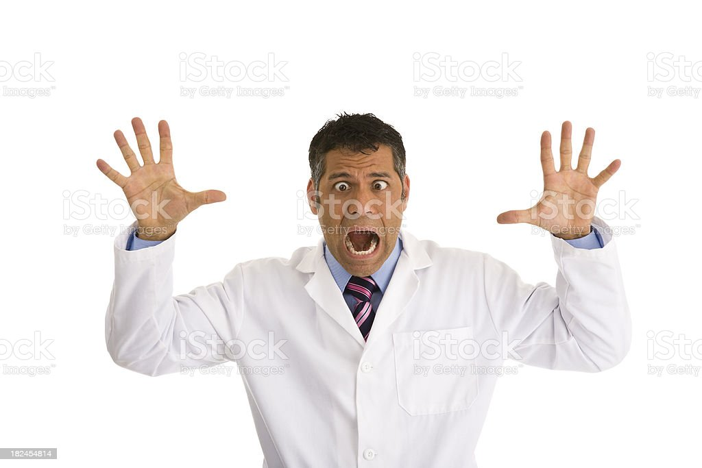Hispanic male wearing lab coat gesturing and making a face royalty-free stock photo