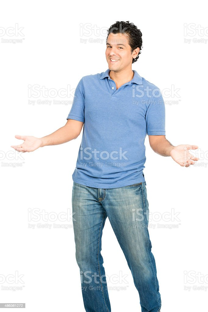 Hispanic Man Open Outstretched Arms Inviting Hug stock photo