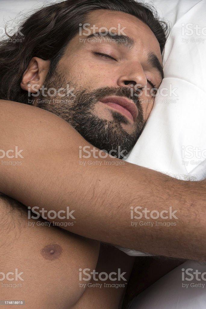 Hispanic man sleeping royalty-free stock photo