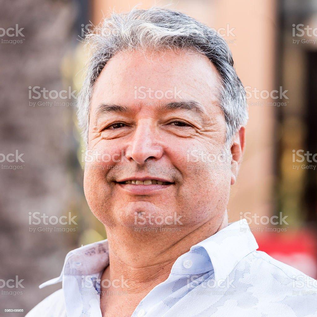 Hispanic mature man close up stock photo