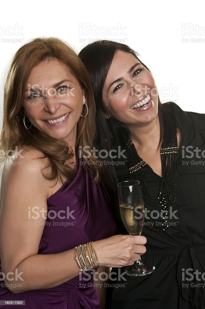 Hispanic mature women celebrating stock photo