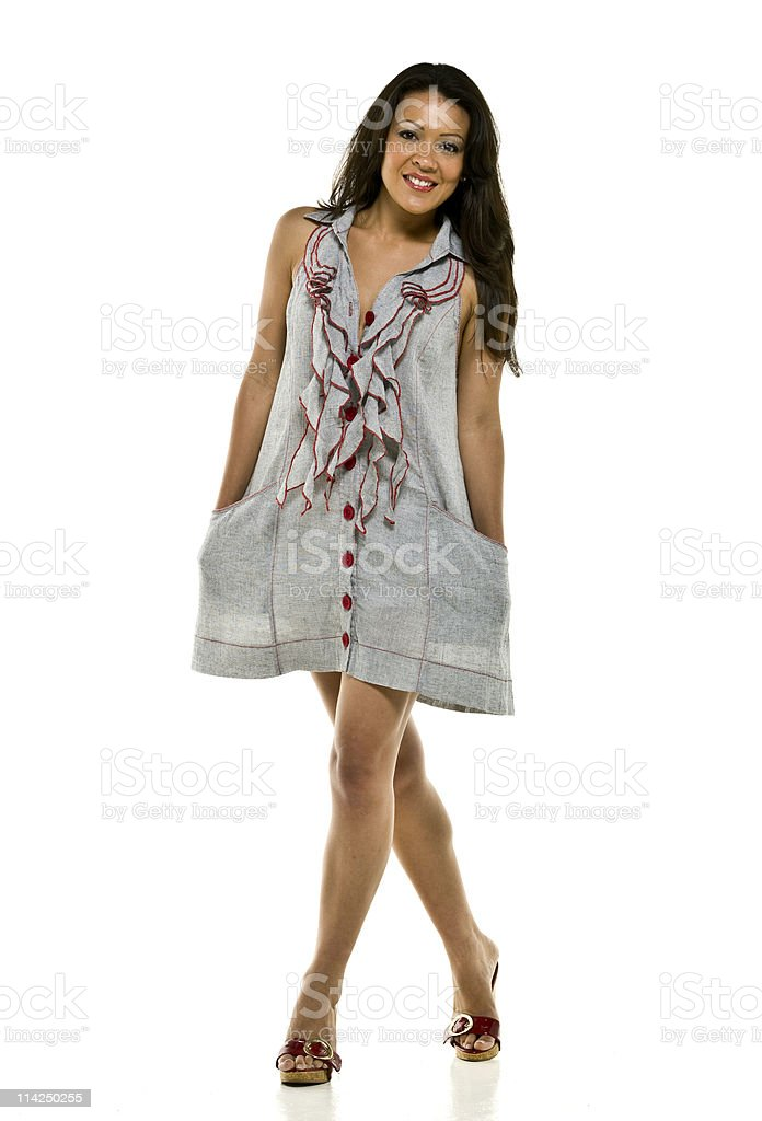 Hispanic model in a fashion show stock photo