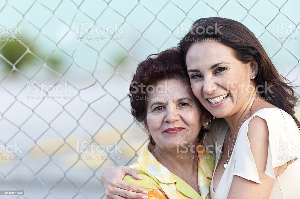 Hispanic mother and daughter royalty-free stock photo
