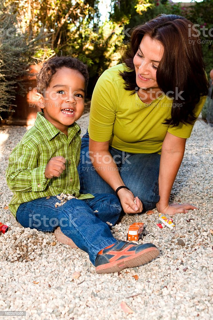 Hispanic Mother and Son Having Fun royalty-free stock photo