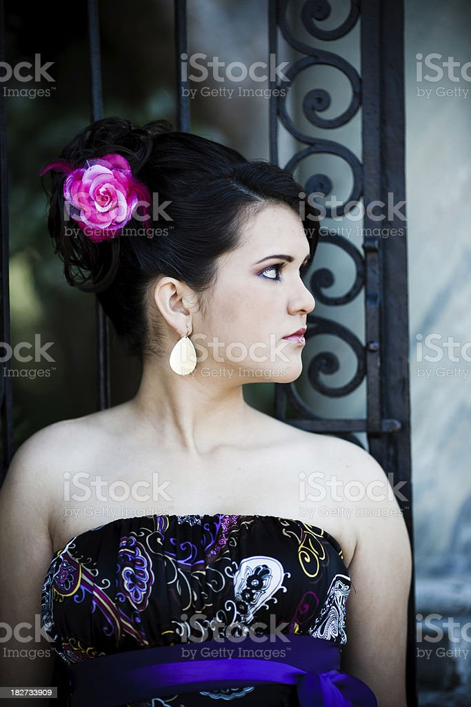 hispanic quinceanera looking sideways royalty-free stock photo