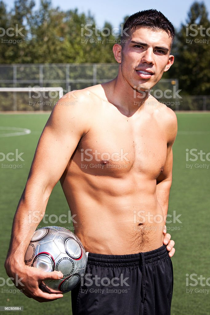 Hispanic soccer or football player royalty-free stock photo