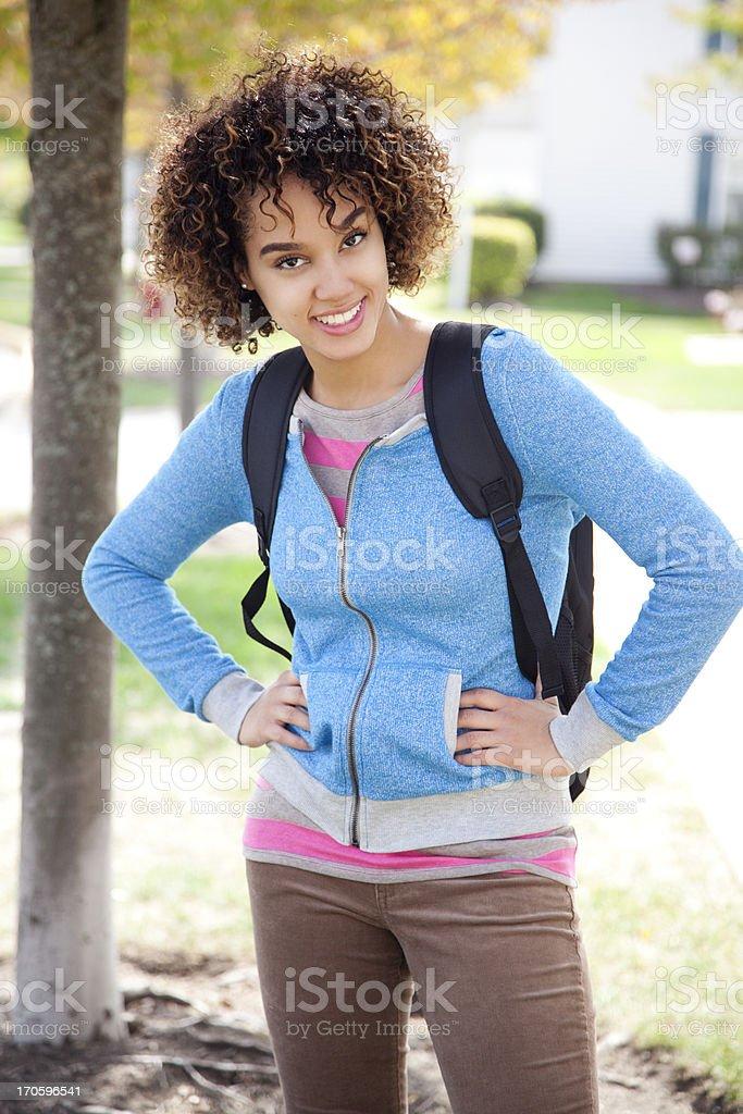 Hispanic student smiling royalty-free stock photo