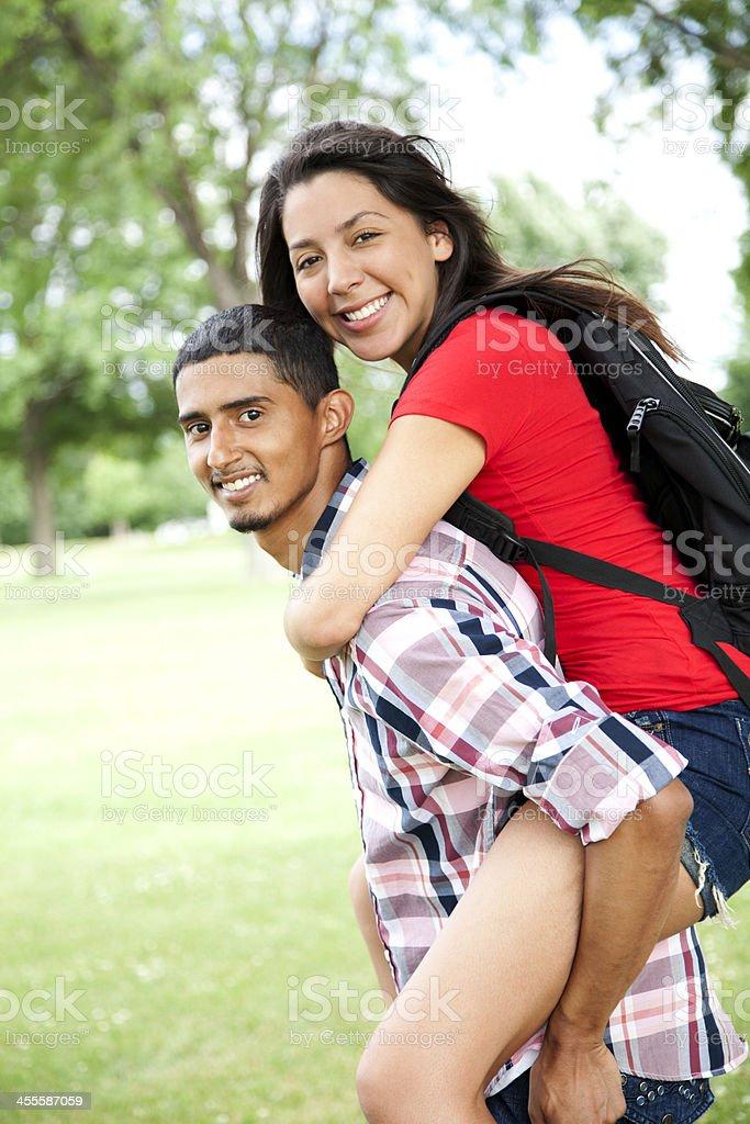 Hispanic students having fun stock photo