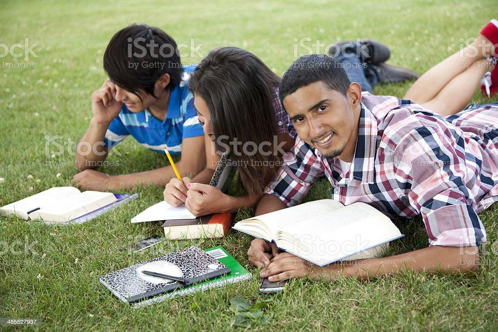 Hispanic students studying stock photo