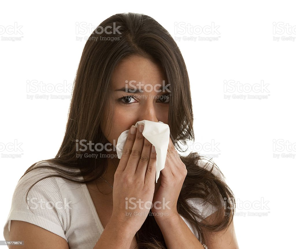 Hispanic Teenager with the Flu royalty-free stock photo