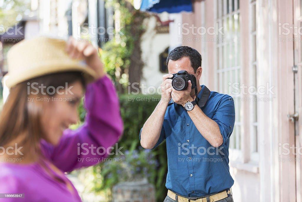 Hispanic tourist posing for photo royalty-free stock photo