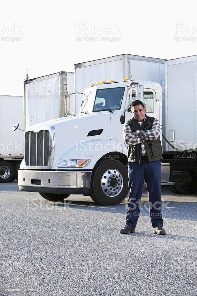 Hispanic truck driver stock photo