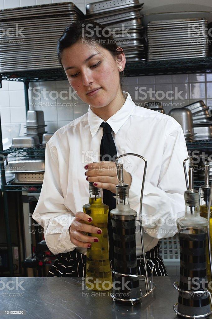 Hispanic waitress at work royalty-free stock photo