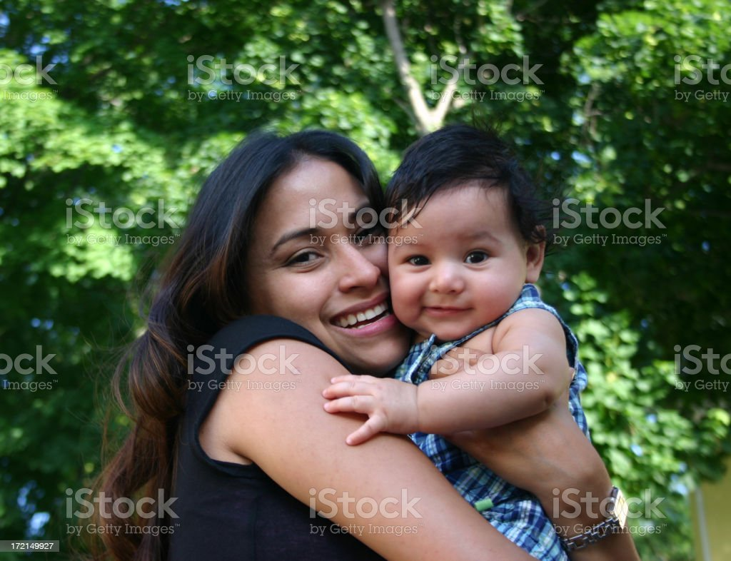 Hispanic Woman and Baby stock photo
