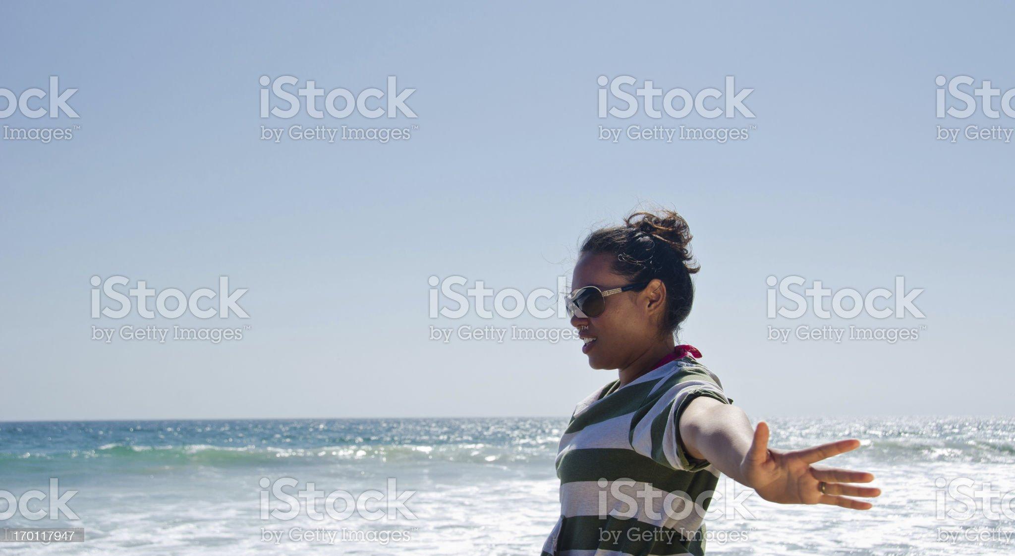 Hispanic Woman Loving Beach Lifestyle royalty-free stock photo