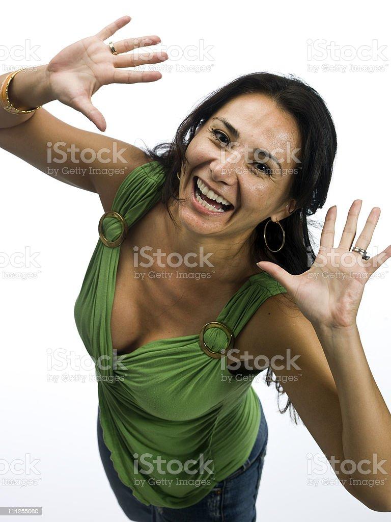 Hispanic woman on white background royalty-free stock photo