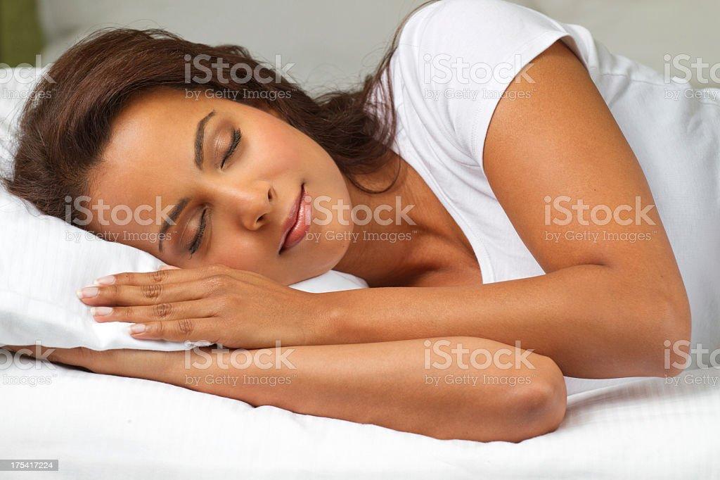Hispanic Woman Sleeping stock photo