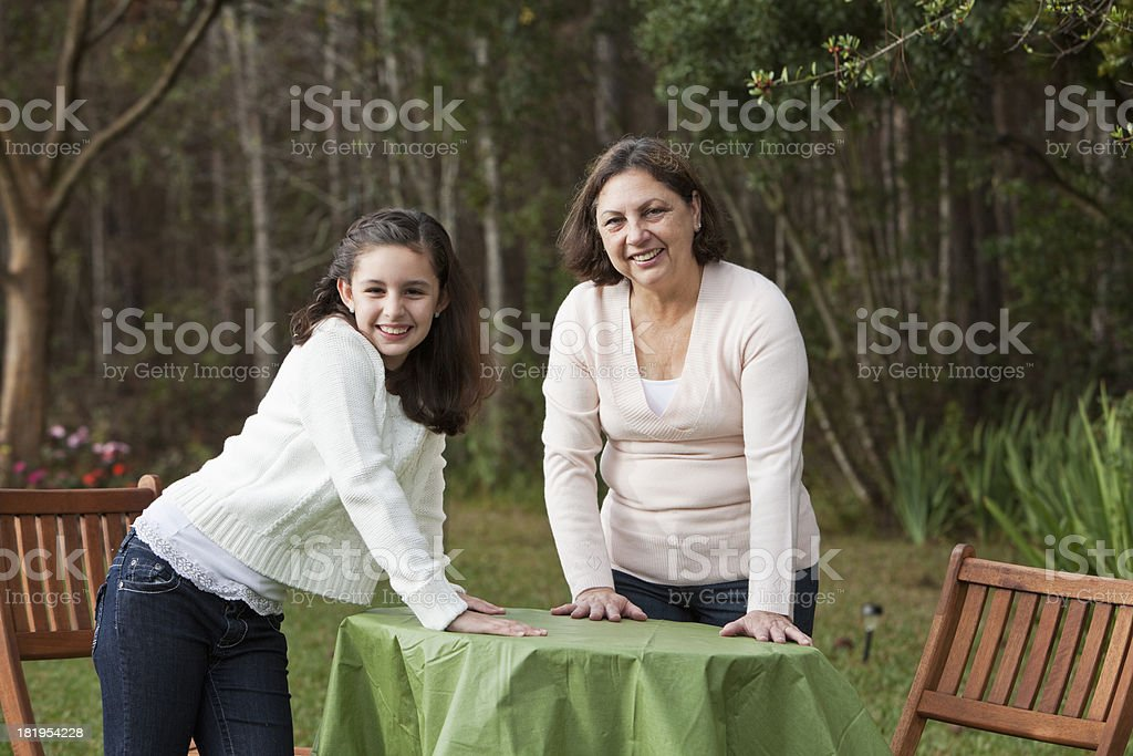 Hispanic woman with granddaughter stock photo