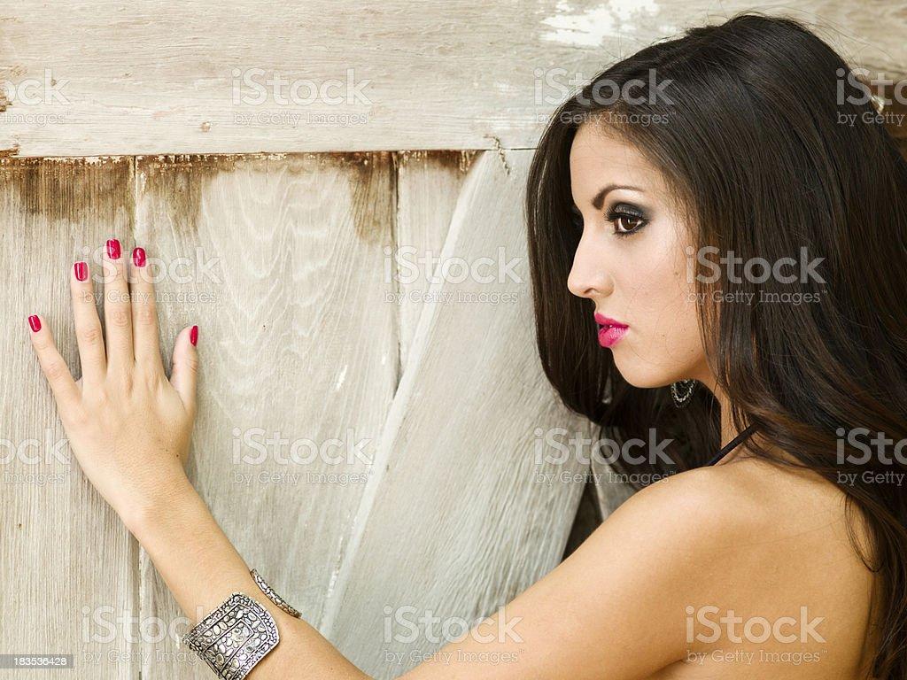 Hispanic Young Woman Posing in Bikini stock photo