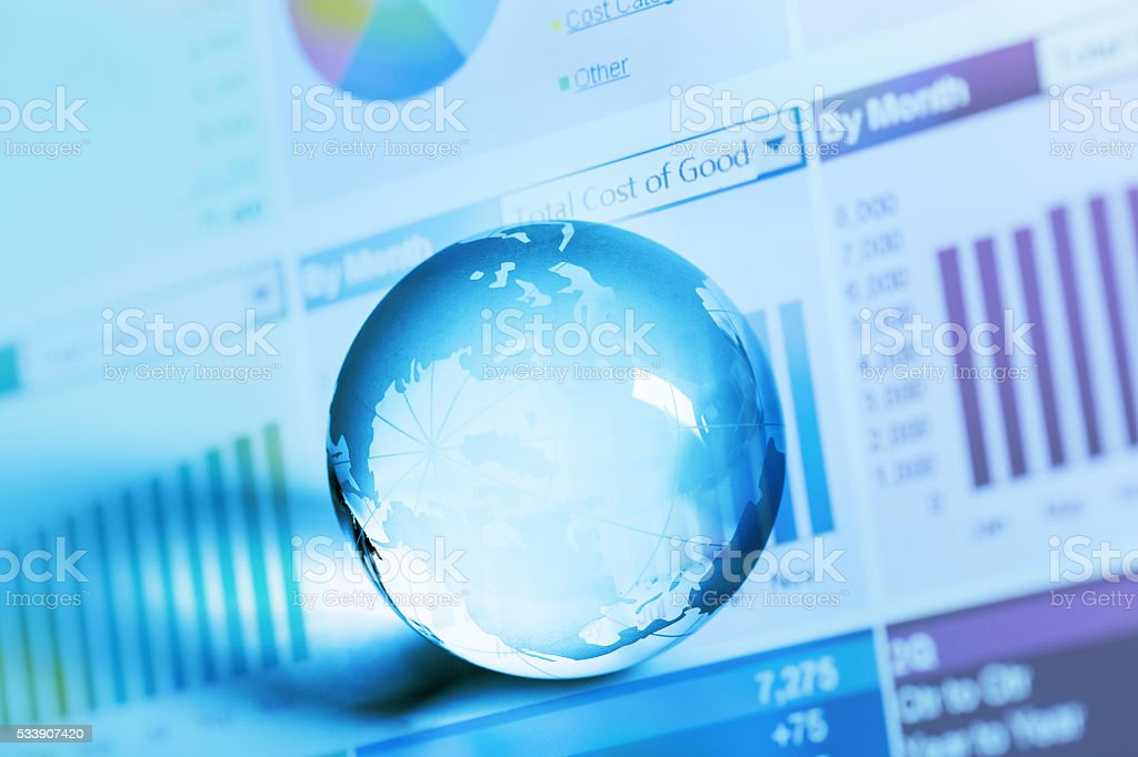 histogram report with crystal global ball stock photo