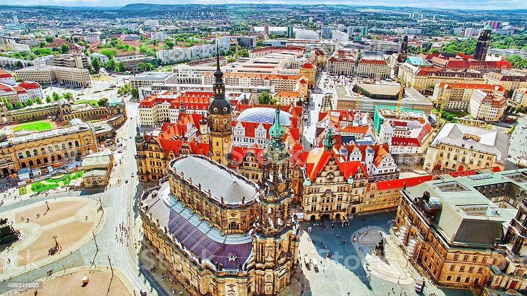 Histoirical center of the Dresden Old Town. stock photo