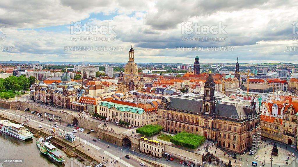 Histoirical center of the Dresden Old Town.River Elba. stock photo