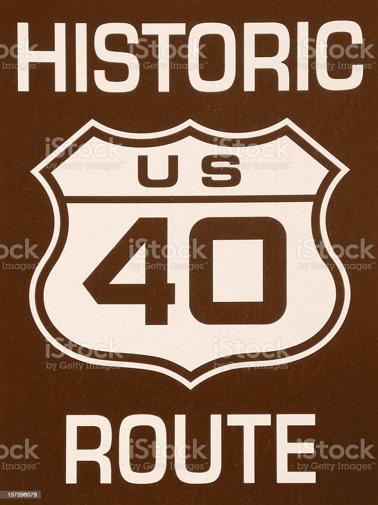 Historic 40 Route Sign Sepia Tone royalty-free stock photo