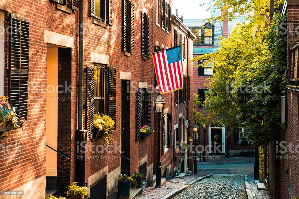 Historic Acorn Street at Boston stock photo