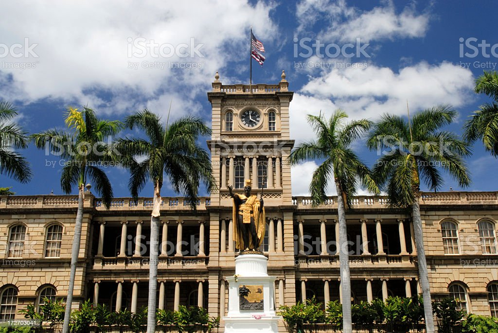 Historic Aliiolani Hale in Honolulu stock photo