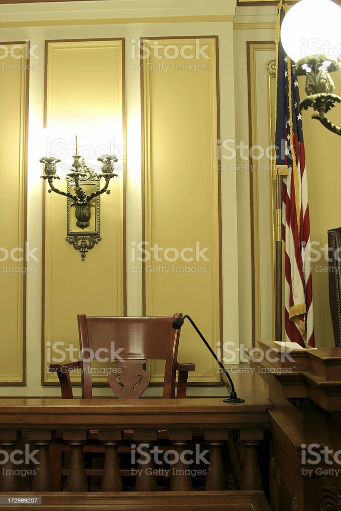 Historic American Courtroom stock photo