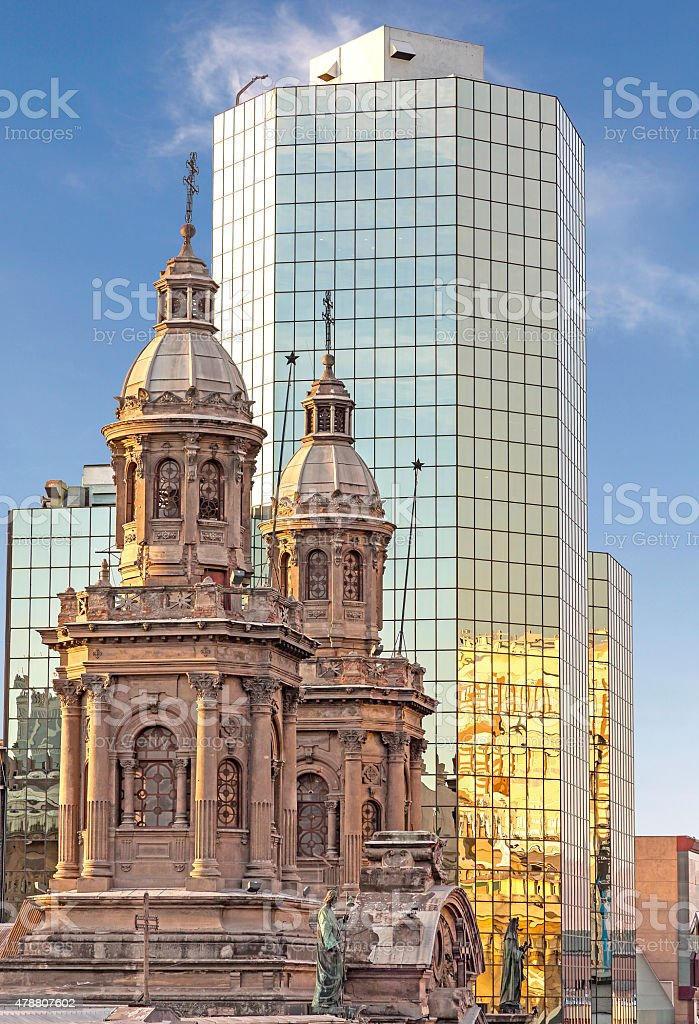 Historic and modern buildings, Santiago de Chile. stock photo