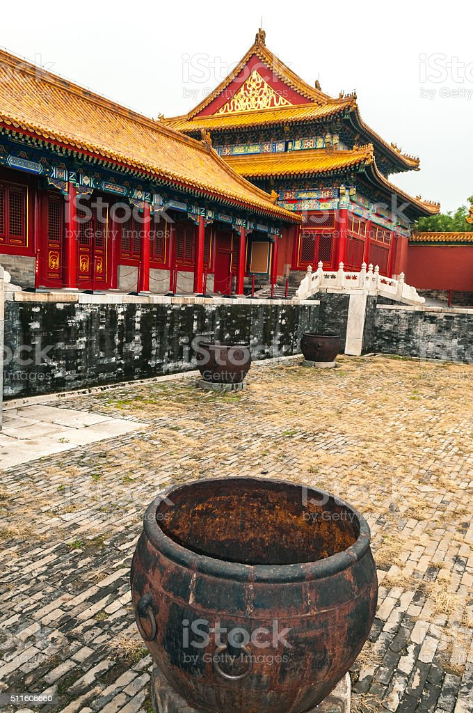 Historic Architecture , Forbidden City ,water container, Beijing, China stock photo