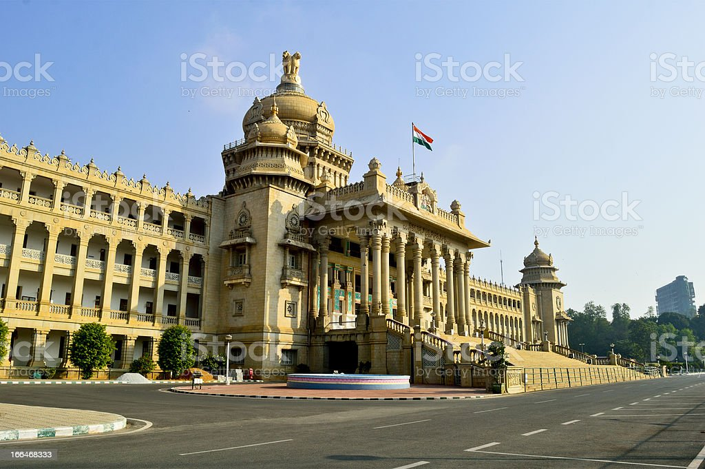 Historic architecture of Vidhana Soudha in Bangalore stock photo