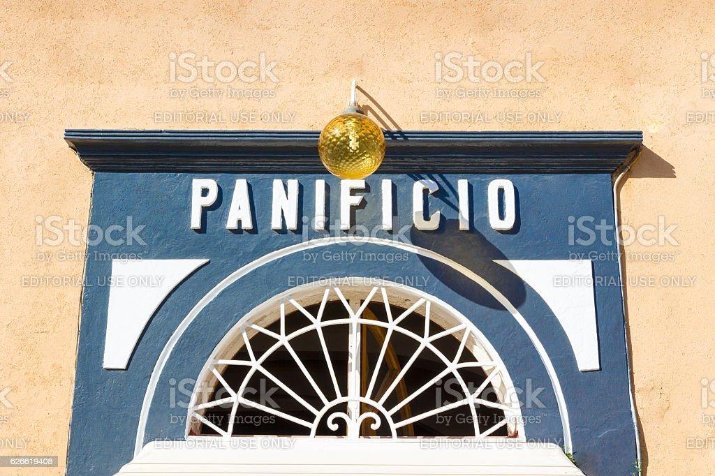 Historic bakery storefront in Elba island, Italy stock photo