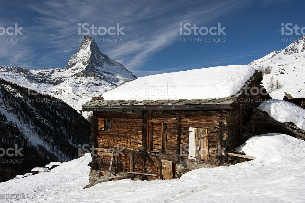 Historic Barn in front of the Matterhorn stock photo