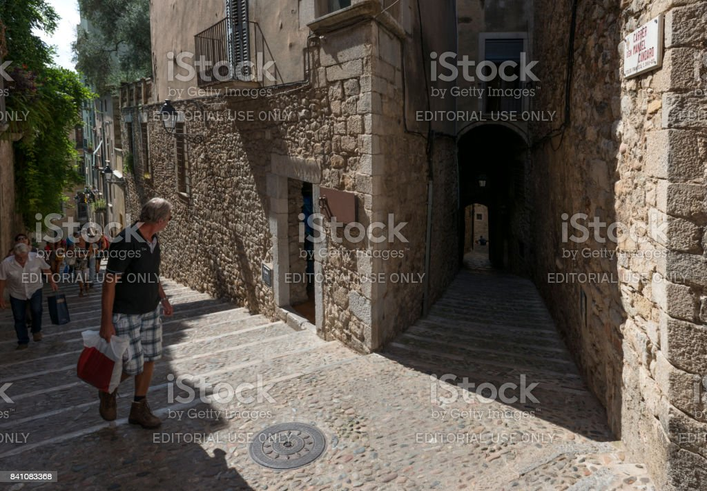 Historic Barri Vell district in Girona stock photo
