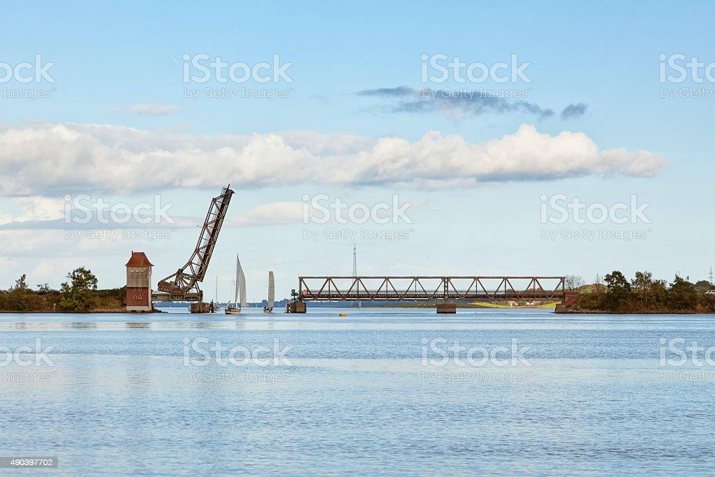 Historic bascule bridge at Lindaunis stock photo