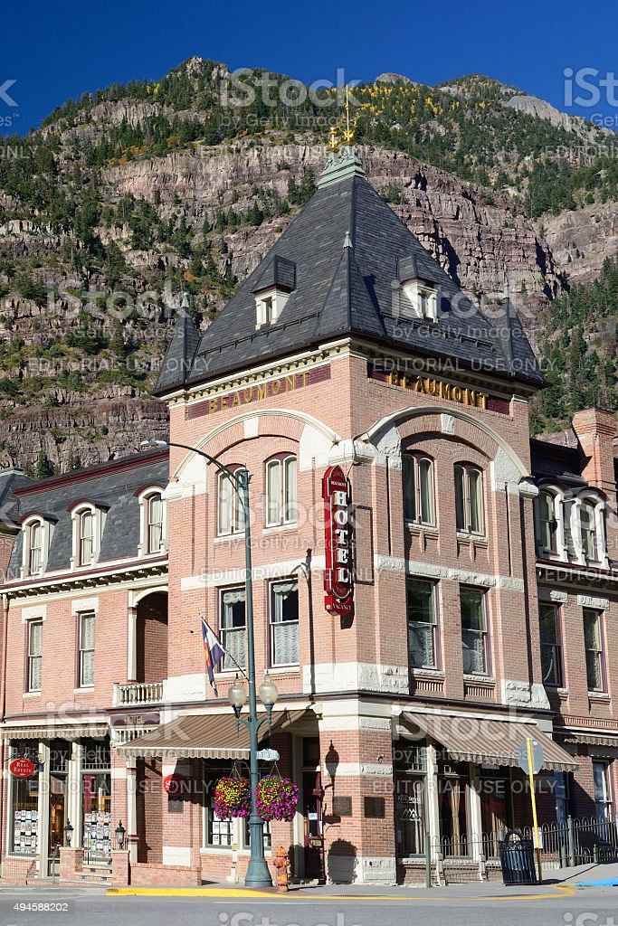 Historic Beaumont Hotel in Ouray Colorado stock photo