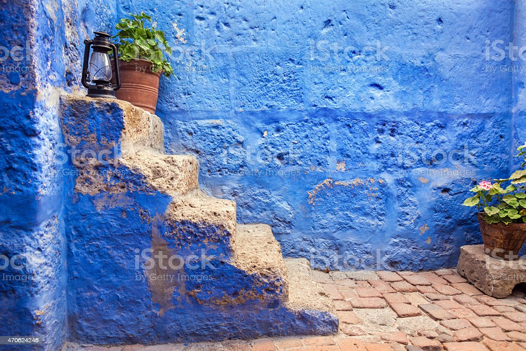 Historic Blue Stairs stock photo