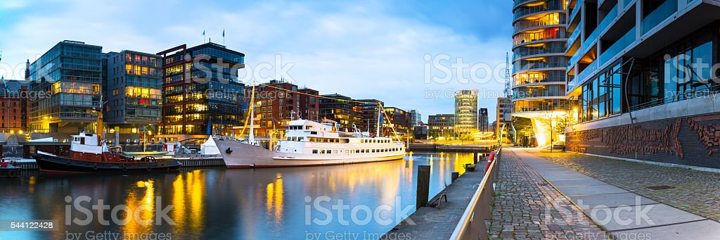 Historic boat at Sandtorhafen in the HafenCity Hamburg stock photo