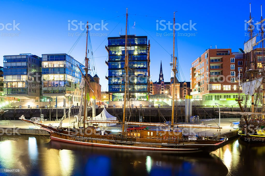 Historic boat in a modern City stock photo