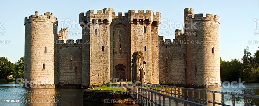 Historic Bodiam Castle and moat in East Sussex, England stock photo