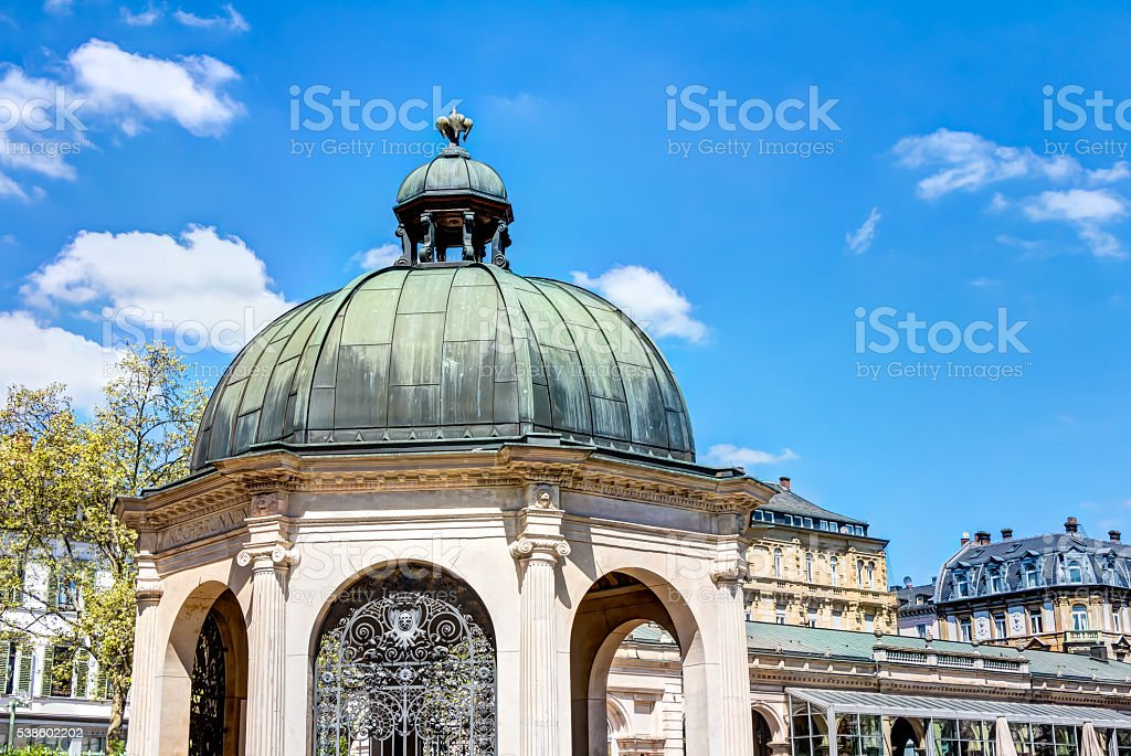 Historic boil fountain in Wiesbaden stock photo