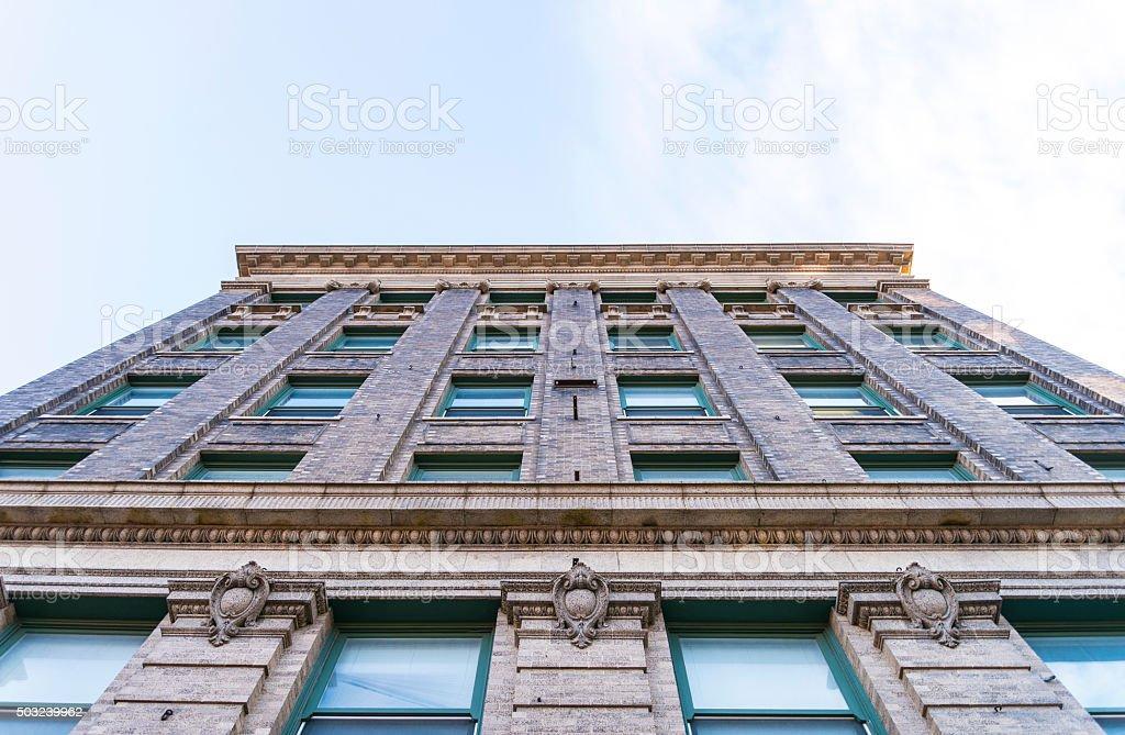 Historic Brick Building Exterior in City of Fort Dodge, Iowa stock photo
