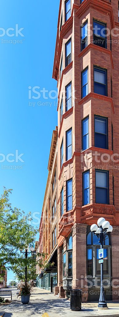 Historic Brick Building in Bloomington, Illinois stock photo