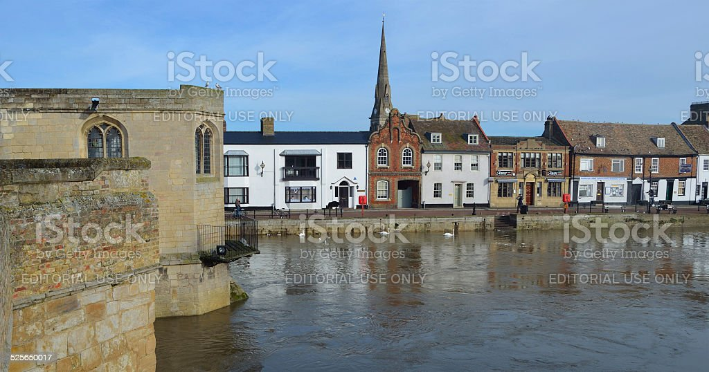 Historic Bridge and Quay St Ives Cambs stock photo