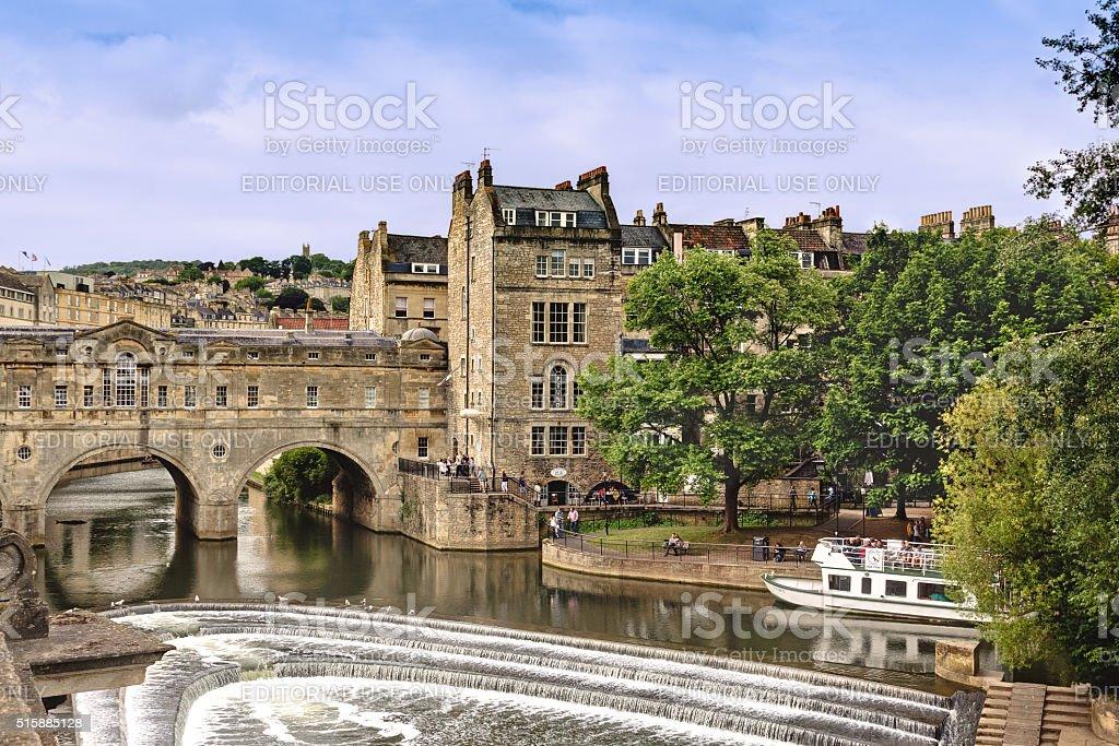 Historic Bridge and River Avon, Bath, Somerset, England, United Kingdom. stock photo