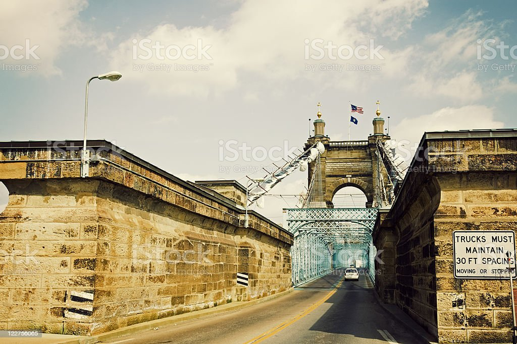 Historic bridge in Cincinnati, Ohio stock photo