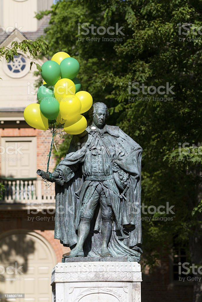 Historic bronze of Lord Botetourt royalty-free stock photo
