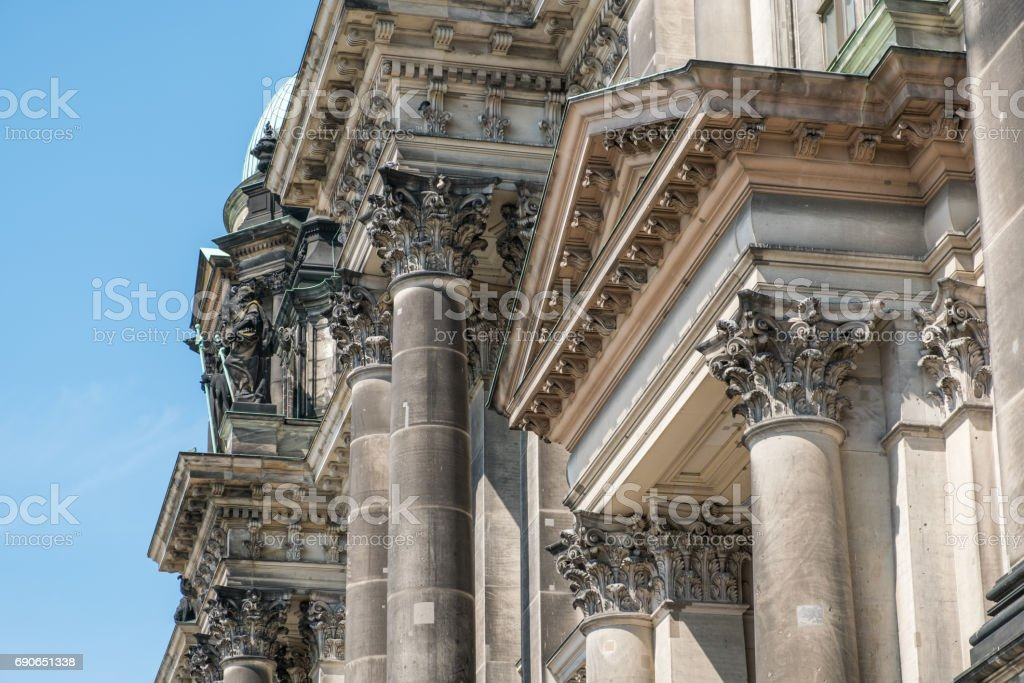 Historic building details of there Berlin Cathedral stock photo